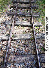 Old narrow-gauge railways detail with different sleepers...