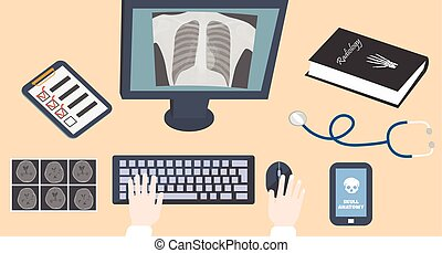 Radiologist doctors workplace - Hands on keyboard and mouse...