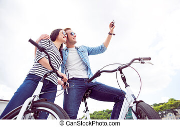Man and woman making a selfie