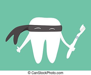 Tooth with toothbrush illustration - Tooth with toothbrush...