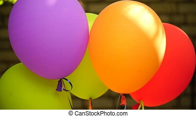 footage balloons close up outdoors. HD video
