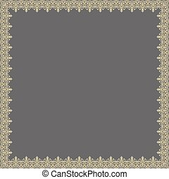 Floral Vector Fine Frame - Classic vector golden square...