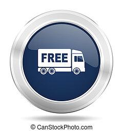 free delivery icon, dark blue round metallic internet...
