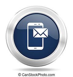 mail icon, dark blue round metallic internet button, web and...