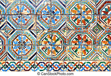 Moorish ceramic tiles (circa 14th century), Andalusia, Spain