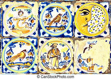 Old moorish ceramic tiles (circa 17th century), Andalusia,...