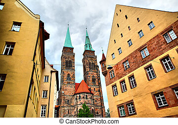 Holy Sebaldus Church in Nuremberg - Street and Holy Sebaldus...
