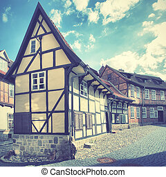 Old street in Quedlinburg, Germany. Retro style filtred...
