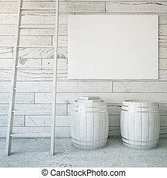 Ladder, barrels and billboard - Light grey wooden interior...