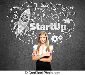 Startup concept with confident young businesswoman and...