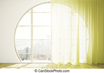 Bright interior with round window - Creative interior design...