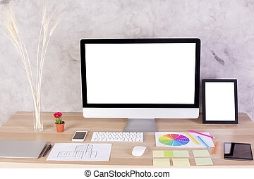 Creative designer desktop with blank white computer screen,...