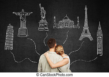 Honeymoon couple travel concept - Back view of young...