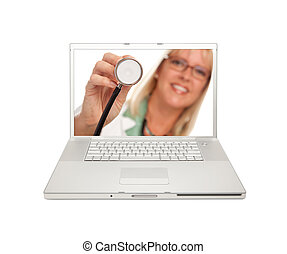 Female Doctor with Stethoscope on Laptop Screen