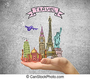 Travel concept with male hand holding abstract sights sketch...