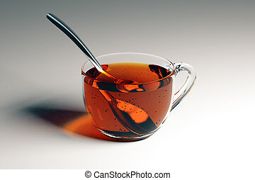 Cup of tea with spoon - Transparent cup of tea with spoon on...
