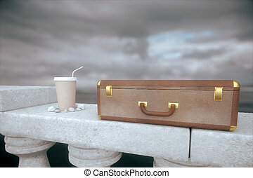 Suitcase and coffee - Clouseup of closed suitcase and coffee...