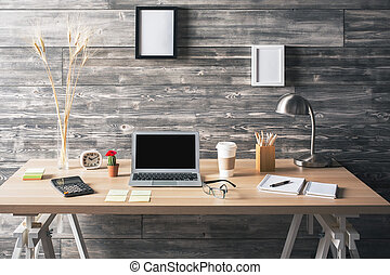 Desktop with various items - Creative wooden desktop with...