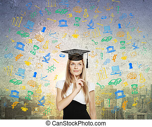 Graduation concept - Graducation concept with thoughtful...