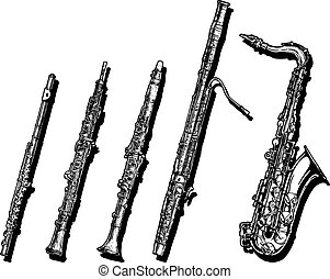 Woodwind musical instruments set - Vector hand drawn set of...