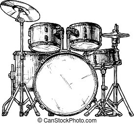 illustration of drum kit - Vector hand drawn illustration of...
