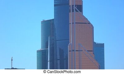 Sunny day close up pan view of business district Moscow city...