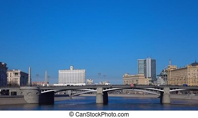 Moscow river cloudless day panoramic video, Russia. 4K...