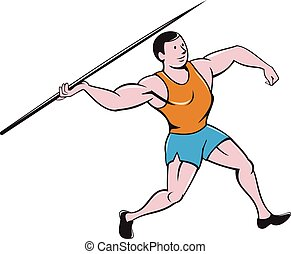 Javelin Throw Track and Field Cartoon - Illustration of a...
