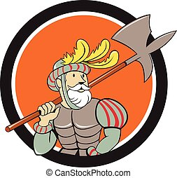 Spanish Conquistador Ax Sword Circle Cartoon - Illustration...