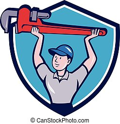Plumber Lifting Monkey Wrench Crest Cartoon - Illustration...