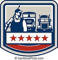 Power Washer Worker Truck Train Crest Retro - Illustration...