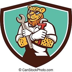 Leopard Mechanic Spanner Monkey Wrench Crest Cartoon -...