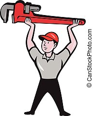 Plumber Lifting Monkey Wrench Cartoon - Illustration of a...