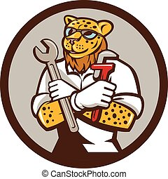 Leopard Mechanic Spanner Monkey Wrench Circle Cartoon -...