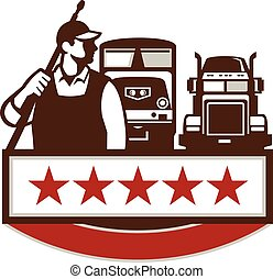 Power Washer Worker Truck Train Stars Retro - Illustration...