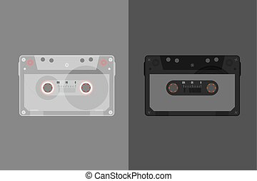 Retro Audio cassette. Modern flat style vector illustration. Posters, postcards, greeting cards, banners, packaging, headers template.