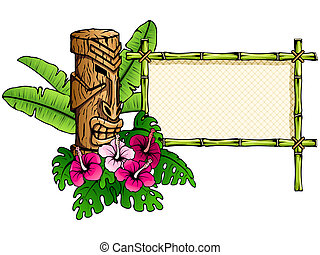 Detailed hawaiian banner with tiki - Colorful Hawaiian...