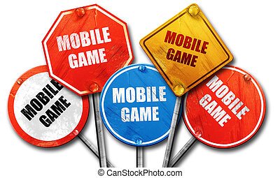 mobile game, 3D rendering, rough street sign collection