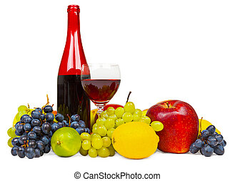 Still life - bottle of red wine and fruits on white background