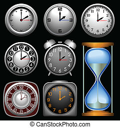 Icons Time - Multiple clocks in different shapes and styles.