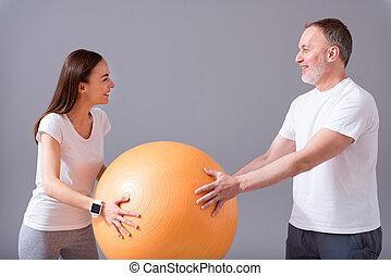 Modern rehabilitation physiotherapy - Orange equipment....