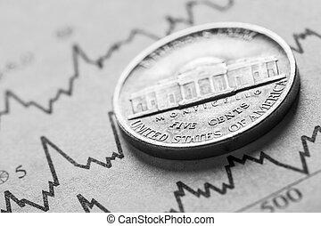 el, moneda, cinco, centavos, en, gráficos, Plano de fondo,