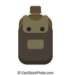 Army water canteen with case icon Vector illustration of...
