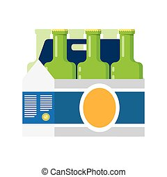 Packaging of beer isolated on white background. - six...
