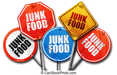 junk food, 3D rendering, rough street sign collection