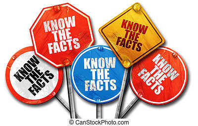 know the facts, 3D rendering, rough street sign collection