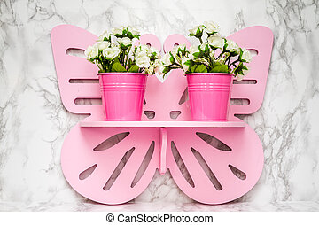 Artificial White Flowers in Pink Flowerpots - Artificial...