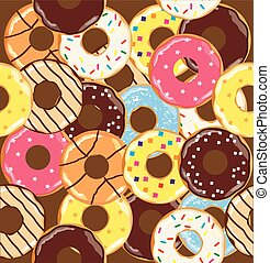 donuts - vector seamless donuts background