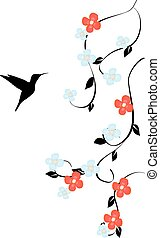 floral humming bird - vector floral humming bird