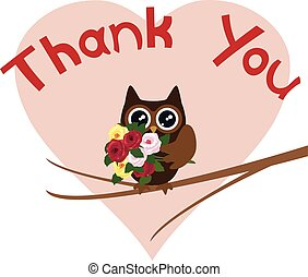 owl thanks - vector thank you card with owl